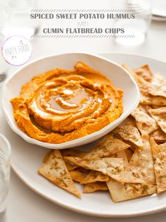 Spiced Sweet Potato Hummus and Cumin Flatbread Chips