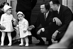 A very young Prince Haakon and older sister, Princess Märtha Louise, with then Crown Prince Carl Gustaf of Sweden and Crown Prince Harald of Norway in October 1974.