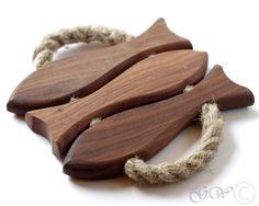 Mahogany Hot Pad with Handles, Wooden Fish Hot Pad