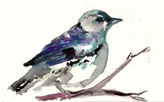 """Print of Original Watercolor Painting, Titled: """"Mr. Grey"""" by Jessica Buhman 8 x 10 Blue Grey Gray Black Purple Turquoise"""