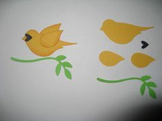 photo page that shows how to put together a yellow bird adornment made with the two step bird punch ,,, cute face from black heart punch ,,, like the sponging and use of two wings lifted  as if just landing ... cute!!