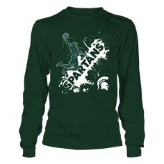 2634285ff08 Michigan State Spartans - Cool Basketball Player - Team Name Color Drop
