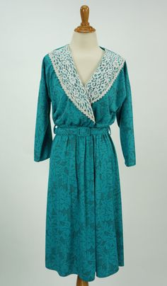 Vintage 1980s Leni Leni Teal Floral Dress Size 12 by CeeLostInTime