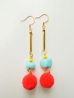 Red PomPom with Ceramic & Glass Beads. Ceramic Beads, Pom Poms, Drop Earrings, Gemstones, Handmade, Color, Jewelry, Hand Made, Jewlery