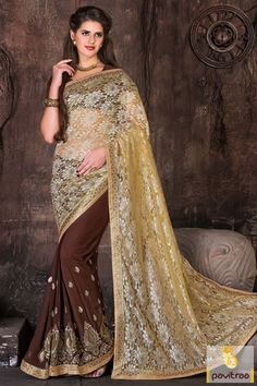 Be stylish with coffee and light yellow color net Georgette saree. Purchase this indian designer party wear saree for discount offer price. Buy this saree online now. #saree, #casualsaree more: http://www.pavitraa.in/store/designer-sarees/
