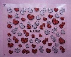 Valentines Nail Art Stickers Decals Red Glitter Love Hearts Design #nails #nailart #nailartstickers