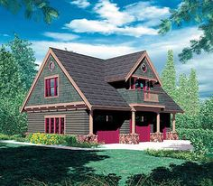 Carriage house plan, 3 car garage plus 2 BR (turn BR into larger living space? Mod one of the garage bays into work space? Garage Apartment Plans, Garage Apartments, Garage Plans, Car Garage, Barn Apartment, Garage Loft, Bedroom Apartment, Apartment Ideas, Small House Plans