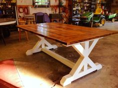 The table my husband, Darrell Green made for my son. Rustic Console Tables, Dinning Room Tables, Wood Table, Farmhouse Table Plans, Farmhouse Kitchen Tables, Farmhouse Design, Cabin Furniture, Diy Furniture, Home Projects