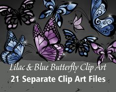 Items similar to Lilac & Blue Butterfly Clip Art Butterfly Clip Art, Blue Butterfly, Art File, Lilac, Printable, Digital, Unique Jewelry, Handmade Gifts, Etsy