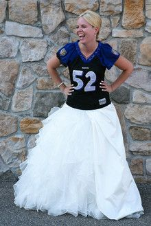 cute idea // favorite football jersey over wedding dress for pictures . . . I would do this!