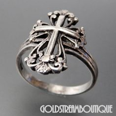 Vintage Sterling Silver Fleur De Lis Cross Ring Size 8 – Gold Stream Boutique