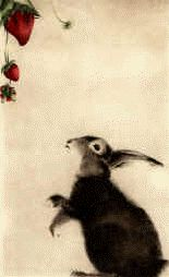 Staying low and not being able to go. Rabbit with Strawberries - etching by C. C. Barton