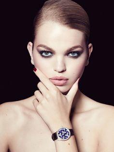 Daphne Groeneveld wears a pale lip color for Bergdorf Goodman jewelry Lookbook Photoshoot