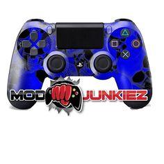 Hydro Dipped Royal Blue Skulls PS4 Dual Shock 4 Controller