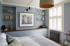 West London, Bedroom Bedroom Victorian MidCenturyModern Contemporary Architectural Details by Spencer & Wedekind Custom Cabinets, Interior, Home Decor, London Bedroom, Contemporary Furniture, Blue Bedroom, Interior Architect, Condo Bedroom, Interior Design