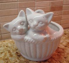 Vintage White Porcelain Kitty Cats In Basket by PineappleQueenShop