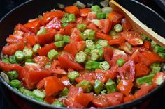 Tomatoes, Okra, and Bacon Skillet ~ http://www.southernplate.com