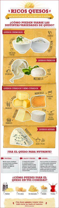 ¿Cómo pueden usarse las diferentes variedades de queso? #infografia #queso