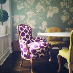 Madeline Weinrib Purple Mu Ikat Fabric on custom upholstered chair                 It's all about the polka dot chair