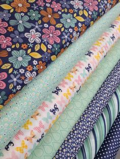 A Beautiful Thing Fabric bundle by Zoe Pearn for Riley Blake Fabrics- Mint and Navy Fat Quarter Bundle, 7 total on Etsy, $21.00