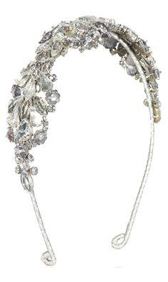Antique silver crystal owl headband