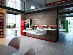 A cozinha vibrante da Snaidero permite integração com outros ambientes