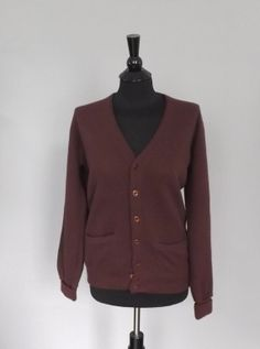 Vintage Retro 80s Kings Road Sears VNeck Button Up Cardigan Sweater Brown Maroon Active Sportswear Size Medium Mens Womens Hipster Preppy