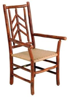 This lovely dining chair with arms is formed of lovely hickory spindles, and displays all the beauty of rustic wood. A must as a 'captain's' chair for your rustic dining room, especially since you get so many options from which to choose.