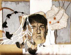 "A work in progress ... temporary title: ""Twit"" #artwork #mixedmedia #mixedmediaart #trump #twitter #itchyfeetnews #carolynbeegan"