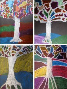 Árboles en otoño: Formas cerradas y colores planos.Trabajo con ceras blandas sobre cartulina negra. (4º de EP). Colegio Alameda de Osuna.