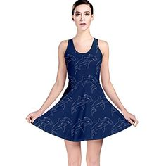 CowCow Blue Hammerhead Shark Pattern Reversible Skater Dress BlueL * Want to know more, click on the image.