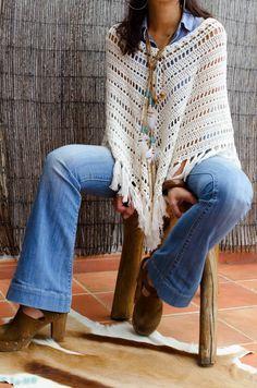 Cómo Tejer un Poncho Fácil y Moderno / Paso a paso   Crochet y Dos agujas - Patrones de tejido