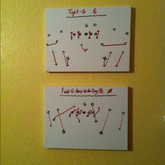 Daddy is a football coach, so he helped decorate our son's room with football plays drawn on canvases with paint pens :-)