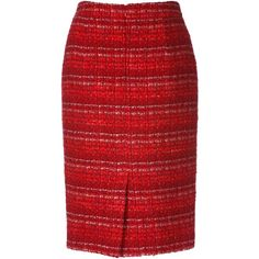 Tweed skirt ($170) ❤ liked on Polyvore featuring skirts, red skirts, red knee length skirt, slimming skirts, textured skirt and tweed skirt