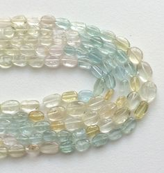 WHOLESALE 5 Strands Multi Aquamarine Plain Oval by gemsforjewels