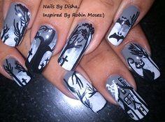 Halloween Haunted nail art by nailsbydisha - Nail Art Gallery nailartgallery.nailsmag.com by Nails Magazine www.nailsmag.com #nailart