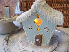 ginger bread baby house, and it lights up too. Gingerbread Village, Christmas Gingerbread House, Gingerbread Man, Christmas Cookies, Blue Christmas, Christmas Colors, Christmas Time, Christmas Crafts, Merry Christmas