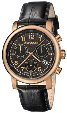 Wenger Watch Urban Classic Chrono #add-content #bezel-fixed #bracelet-strap-leather #brand-wenger #case-depth-11-5mm #case-material-rose-gold-pvd #case-width-43mm #chronograph-yes #classic #date-yes #day-yes #delivery-timescale-call-us #dial-colour-black