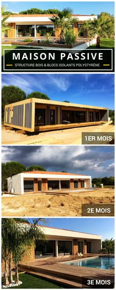 Discover this passive wooden frame house (wood structure & polystyrene insulation blocks) built in only 3 months with Archionline! Source by archionline Container Architecture, Architecture Design, Green Magic Homes, Surf House, Passive House, Solar House, Earthship, Prefab Homes, My Dream Home