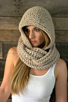 Chunky Hooded Cowl Infinity Scarf / THE EMPIRE / Cremini