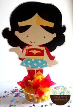 Wonder Woman Theme Party - Celebrat : Home of Celebration, Events to Celebrate, Wishes, Gifts ideas and more ! Batman Party, Superhero Birthday Party, Girl Birthday, Birthday Ideas, Wonder Woman Birthday, Wonder Woman Party, Party Centerpieces, Ladies Party, Party Time