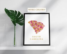 South Carolina map print USA state poster state map print modern wall art USA prints map pink gold mosaic map South Carolina art print