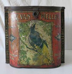N.V. VAN MELLE'S LARGE DISPLAY SIZED TOFFEES ANTIQUE TIN BIN WITH BIRD IMAGES #NVBANMELLES