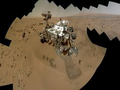 NASA - Curiosity Self-Portrait, Wide View. On the 84th and 85th Martian days of the NASA Mars rover Curiosity's mission on Mars (Oct. 31 and Nov. 1, 2012), NASA's Curiosity rover used the Mars Hand Lens Imager (MAHLI) to capture dozens of high-resolution images to be combined into self-portrait images of the rover.
