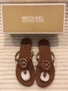 ⭐NEW⭐Michael Kors Girl's Youth Ballee Slide-On Flip Flop Cognac Sandal Size: 2 #MichaelKors #SandalsFlipFlop #Casual