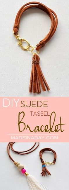 DIY Suede Tassel Bracelet, Make this super cute trendy leather tassel and layered suede bracelet. See the tutorial on http://madeinaday.com
