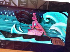 In all of this week's crazy, I forgot to photograph my Moana piece for the upcoming Ron and John tribute show at @gallerynucleus . Thankfully, the good guys at @disneyfineartcollection helped me out! Full piece to come closer to the show:)