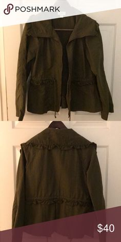 Loft Olive Green Ruffled Light Jacket Gotta love the ruffles that add just a splash of girly to this wardrobe essential! LOFT Jackets & Coats Utility Jackets