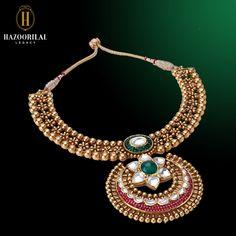 A testimony to bridal elegance. #HazoorilalLegacy #Hazoorilal #Jewelry #Bridal #Gold #KundanPolki #StatementNecklace