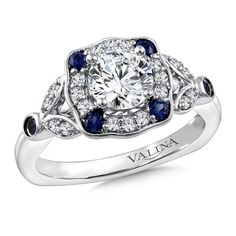 Valina - Diamond & Blue Sapphire Engagement Ring Mounting in 14K White Gold (.20 ct. tw.) #R9778W-BSA